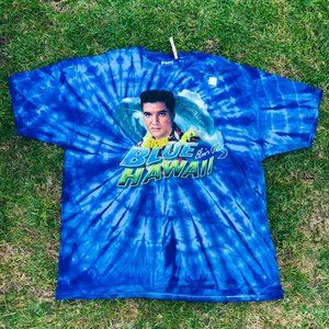 Hanes Elvis Blue Hawaii Graphic Tie Dye blue Shirt